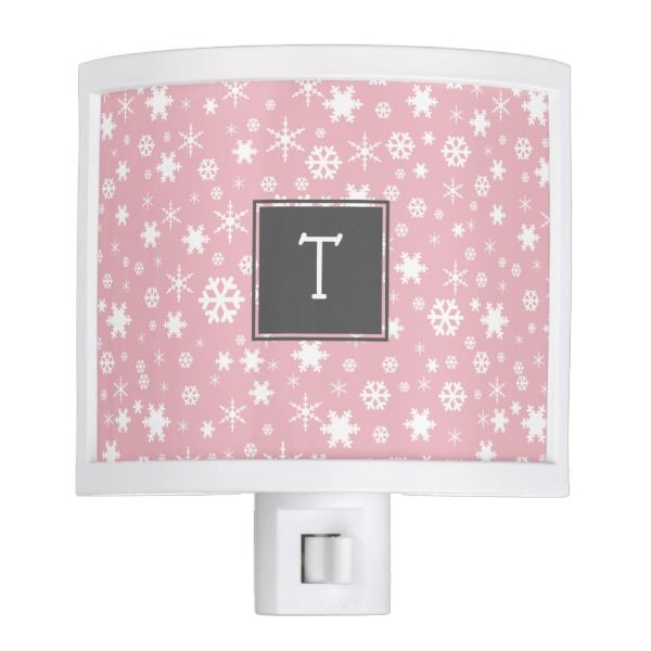 Elegant Christmas snowflake pattern pastel pink Night Light #Custom #Christmas #Holiday #Night #Lights