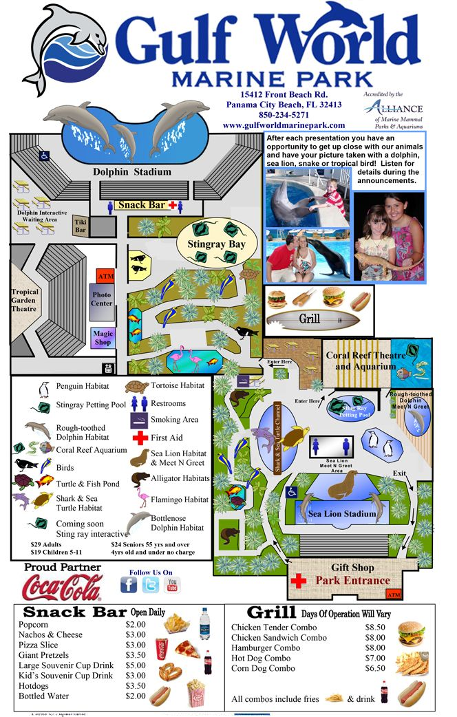 Gulf World Map Directions Marine Parkgulf Park Florida Pinterest Vacation Panama City Beach And