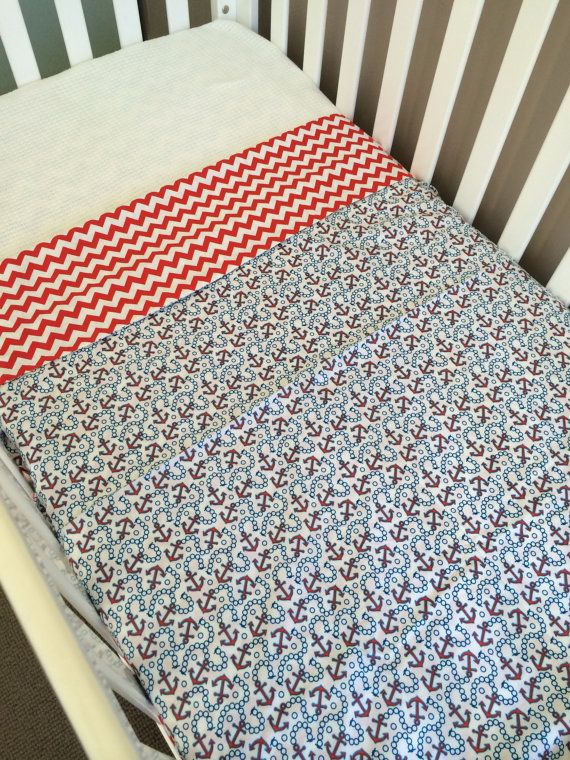 Ready to send Cot doona cover anchors & red by BabyRainbowz