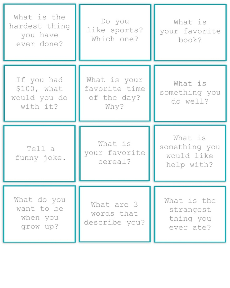 Table Topics Ideas Funny conversation starters game with table topics if this family reunion includes lots Restlessrisa Cards With Kid Friendly Questions Use At Dinner As Conversation Starters