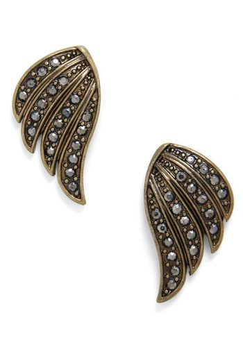 What a Nice Flight Earrings, #ModCloth...$16...*****5Star Rating... pewter studs of their fanned feathers