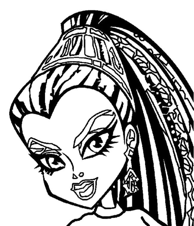 face nefera de nile monster high coloring page monster