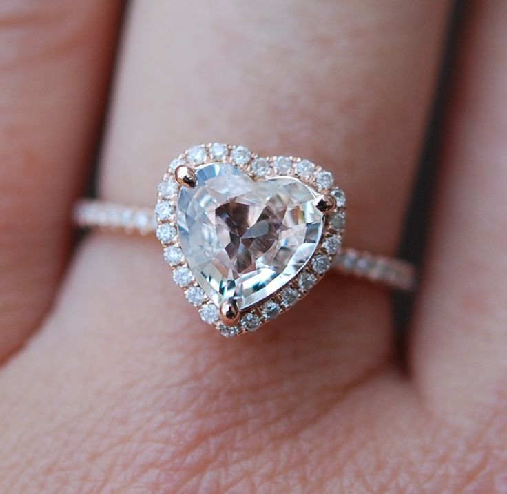 Rose Gold Engagement Ring Ice Peach Shire 1 58ct Heart Shape 14k Rg Diamond