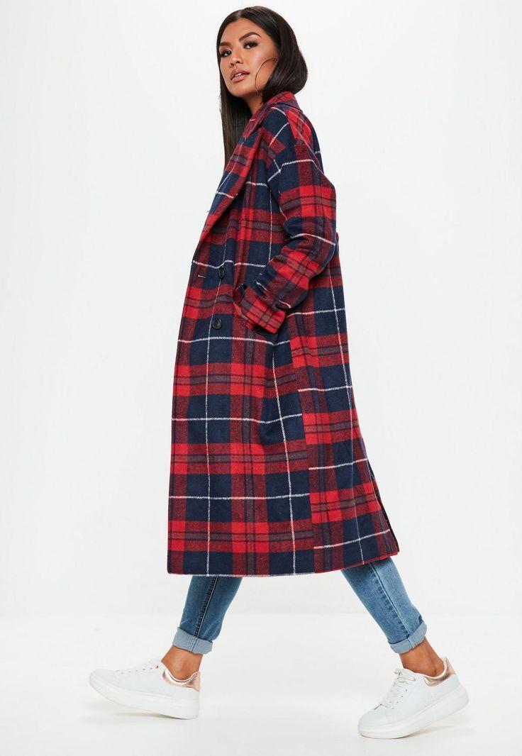 Red Plaid Long Line Coat