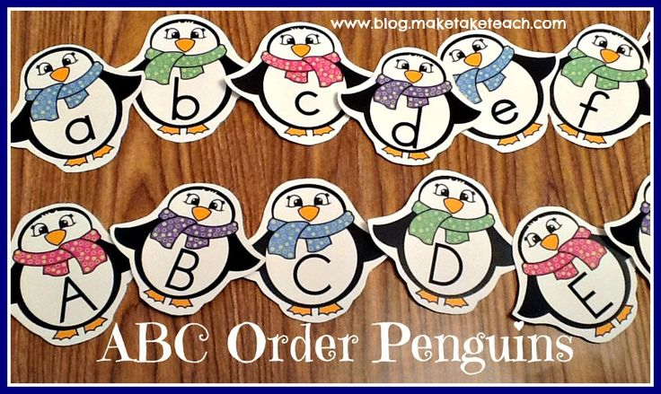 FREE upper- and lowercase penguins. ABC Order Penguins. Great for small group instruction or as a literacy center activity.