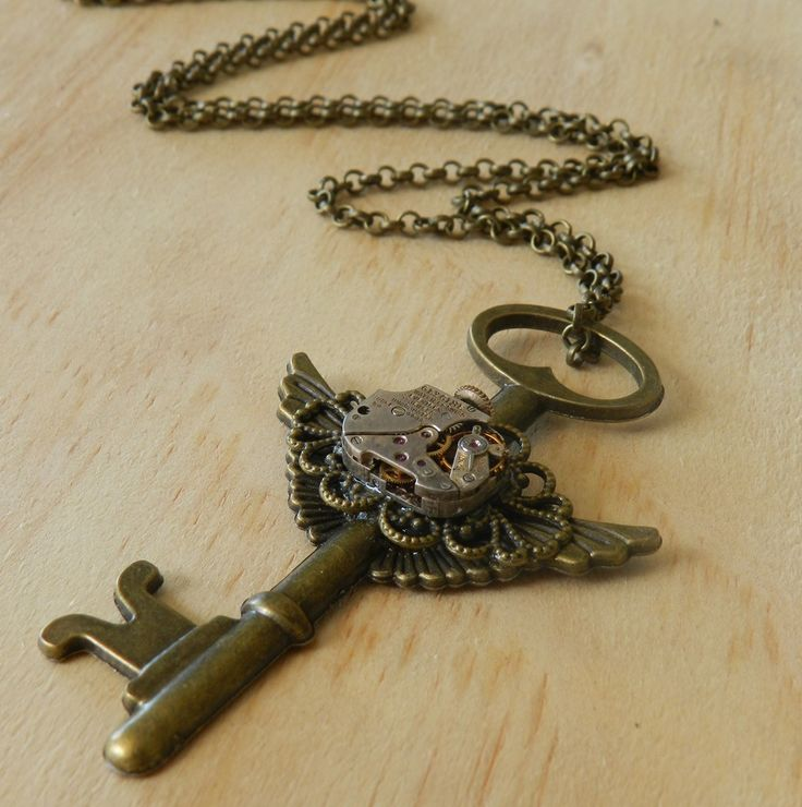 Image of Steampunk Vintage Winged Key Necklace