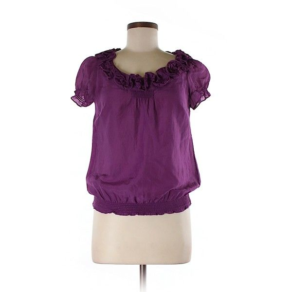 Pre-owned Ann Taylor LOFT Short Sleeve Blouse Size 4: Dark Purple... ($16) ❤ liked on Polyvore featuring tops, blouses, dark purple, short sleeve blouse, loft tops, purple top, short sleeve tops and loft blouse