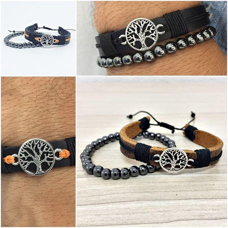 Kit Pulseira Masculinas Couro Pedra Bracelete Arvore Da Vida mens bracelets style fashion cocar brasil