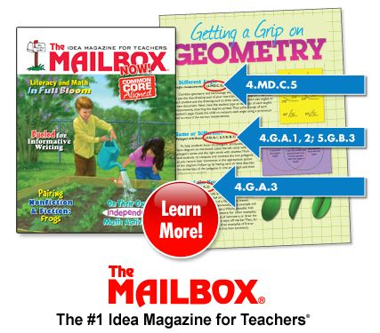 Mailbox Magazine:  Grades K-5--professional teacher magazine. A new issue arrives every two months. Teachers may check them out. They are on the shelf behind the circulation desk.