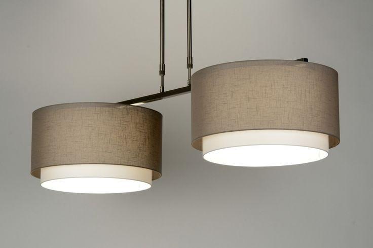 hanglamp  30425: modern, design, staal ,  rvs, stof, taupe, langwerpig ...