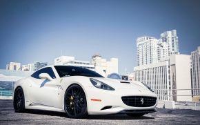 феррари, калифорния, белый, парковка, ограждение, Ferrari
