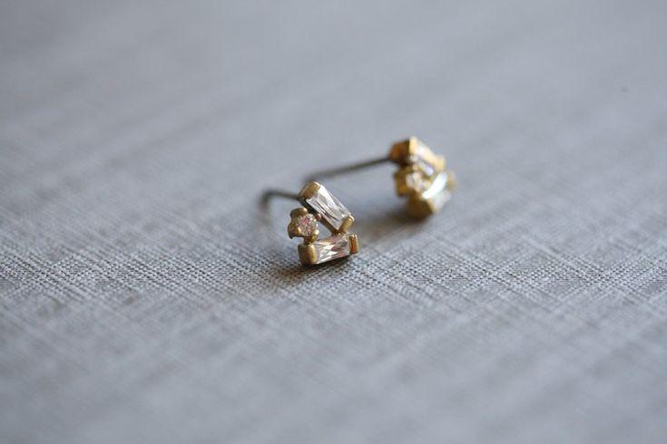 【愛的告白耳環】迷你款 黃銅/鋯石/耳針 - ::La Luna de jiejie :: handmade accessory   Pinkoi
