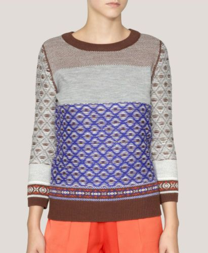NWT $98 J.Crew JCrew Warmspun Colorblock Fair Isle XS Women Sweater Sold,Out
