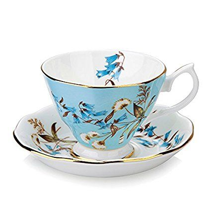 Vintage Fine Bone China Tea Cup Spoon and Saucer Set Gold Trim Fine Dining and Table Decor (Blue Rose): Amazon.co.uk: Kitchen & Home