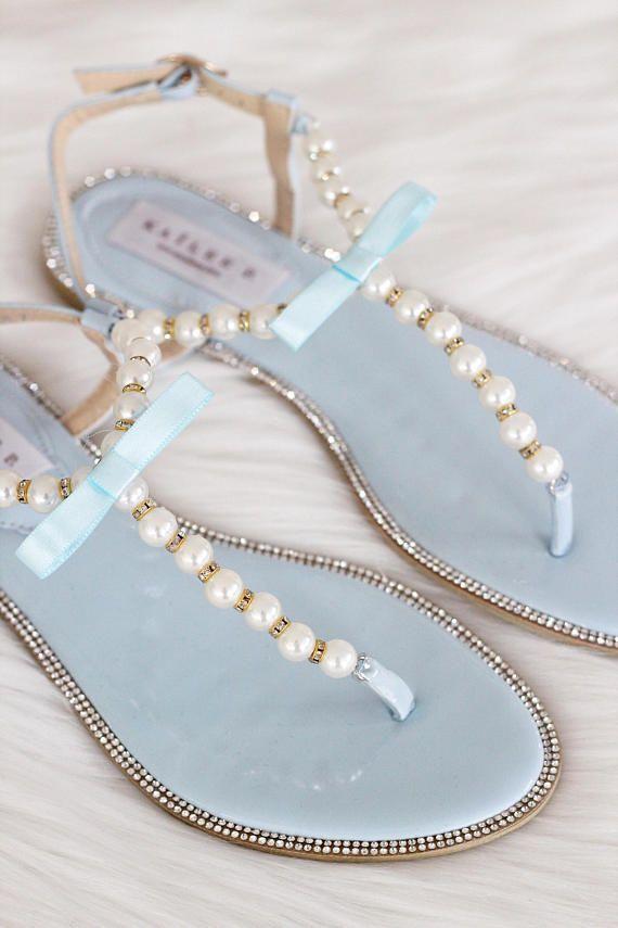 5bb111e08f12 Women   Kids Wedding Pearl Sandals - T-Strap LT BLUE PATENT With ...