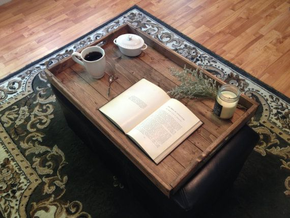 Rustic Wooden Ottoman Tray Coffee Table Tray Serving Tray Wooden Tray Rustic Home Decor