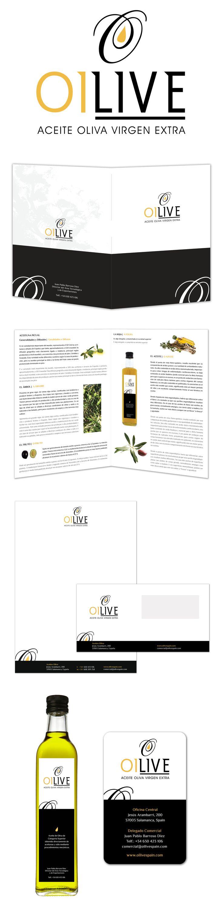 Diseño de imagen corporativa completa, etiquetas botellas y flyer promocional de Oilive