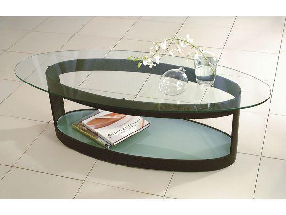 抜け感のある洗練されたフォルムがモダンな楕円形状のリビングテーブル。フロストガラスの棚にはリモコンや雑誌、インテリア小物などを置いていただけます。
