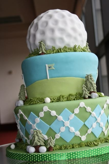 Golf Party: Tiered Golf Themed Birthday Cake