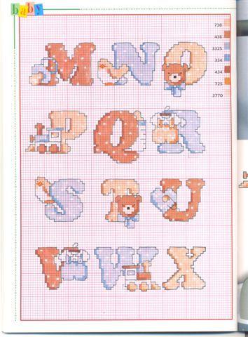 Schema Punto Croce Alfabeto Bebe2