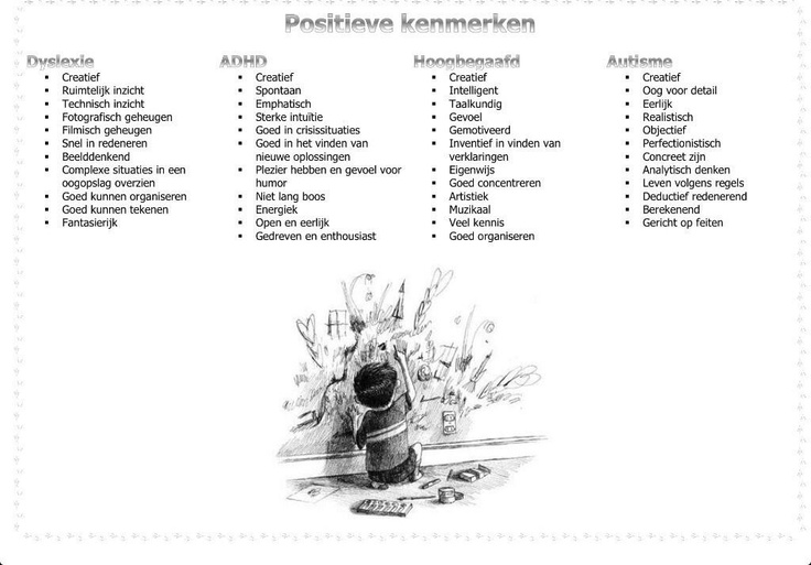 Positieve kenmerken ADHD, Dyslexie , Hoogbegaafdheid en Autisme