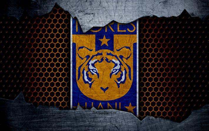 Download wallpapers Tigres UANL, 4k, logo, Liga MX, soccer, Primera Division, football club, Mexico, grunge, metal texture, Tigres UANL FC