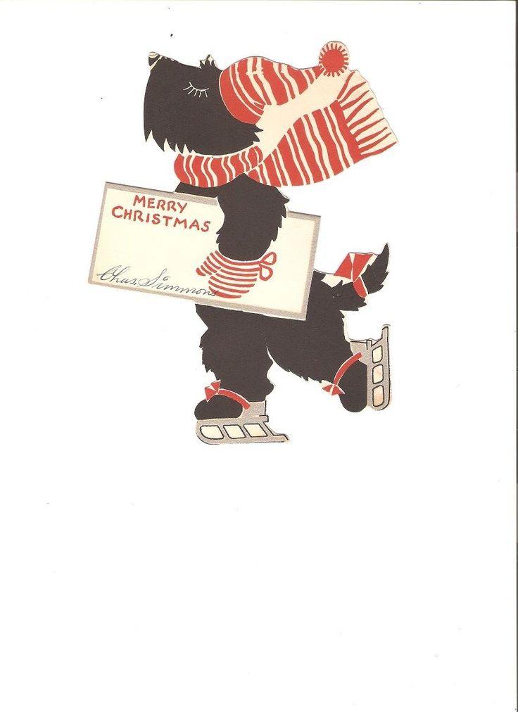 Vintage Scottie Scotty Dog Christmas Greeting Card
