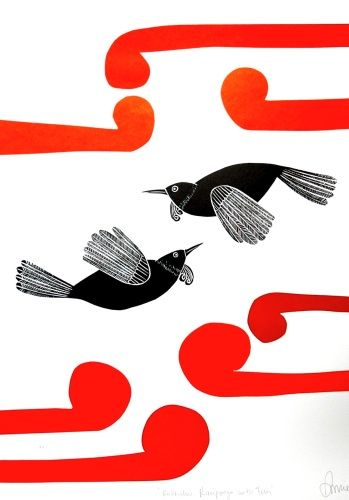 Annie Smits Sandano, Kokowhai Rauponga with Tuis, Woodcut on 705 x 500 mm paper, from an edition of 200.