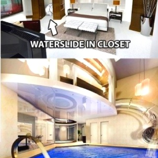 This would be the way to wake up each morning! Slide right out of bed, and into your pool! Reminds me of Steven Tyler, he jumps into the lake nearly every morning:) Waterside in closet hitch slides downstairs into a pool!!!!!