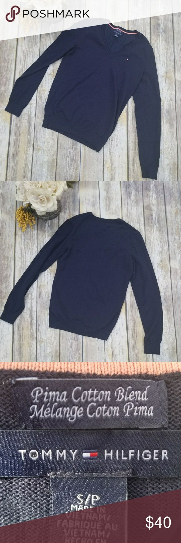 """🎉Tommy Hilfiger Navy V Neck Sweater🎉 Classic Tommy Hilfiger Navy Sweater V Neck Size S Great condition  Has Tommy logo on top left corner Bust 32"""" Sleeve 25"""" Length 23""""  Perfectly paired with a Tommy Hilfiger denim jacket, jeans, and boots! Tommy Hilfiger Sweaters V-Necks"""