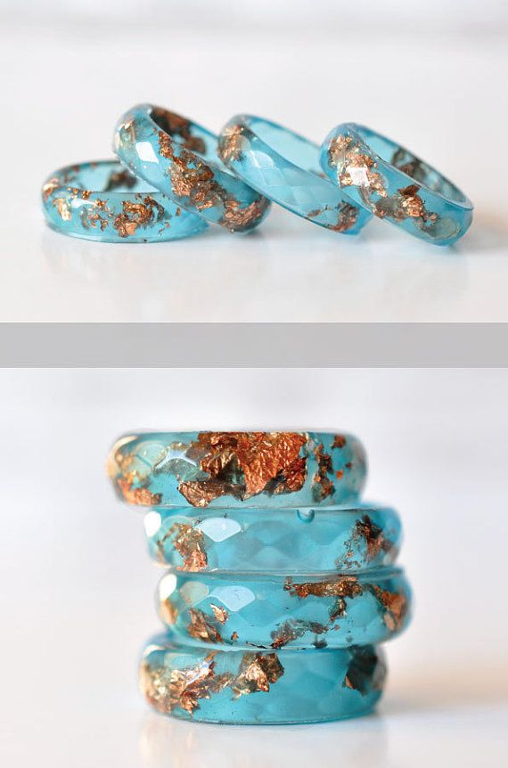 Blue Resin Ring With Rose Gold Flakes – Skinny Faceted Band Ring – Resin Stacking Ring – Minimal Resin Jewellery