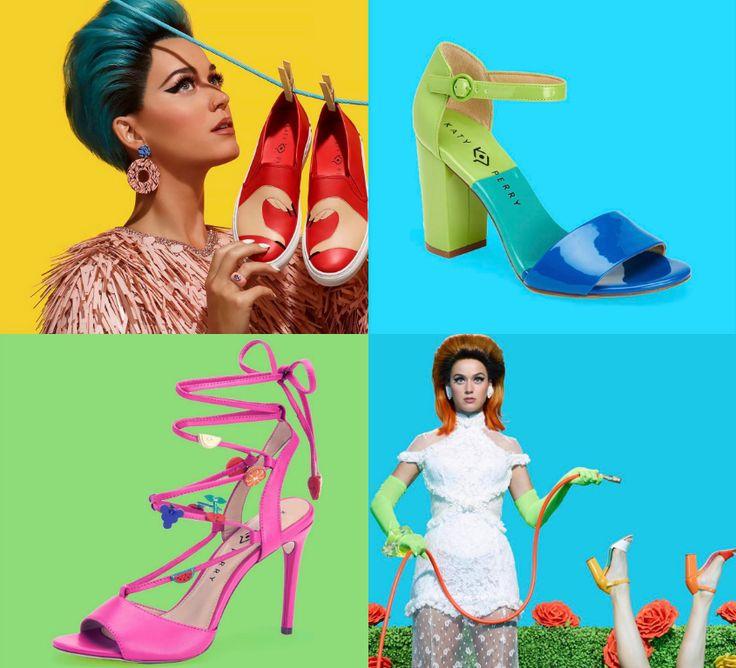 A nova coleção de sapatos da KatyPerry é bem a cara daquela Katy super fun de California Gurls, com saltos super coloridos e divertidos