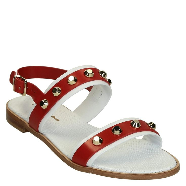 White/red flat leather sandals with metal studs - Italian Boutique €145