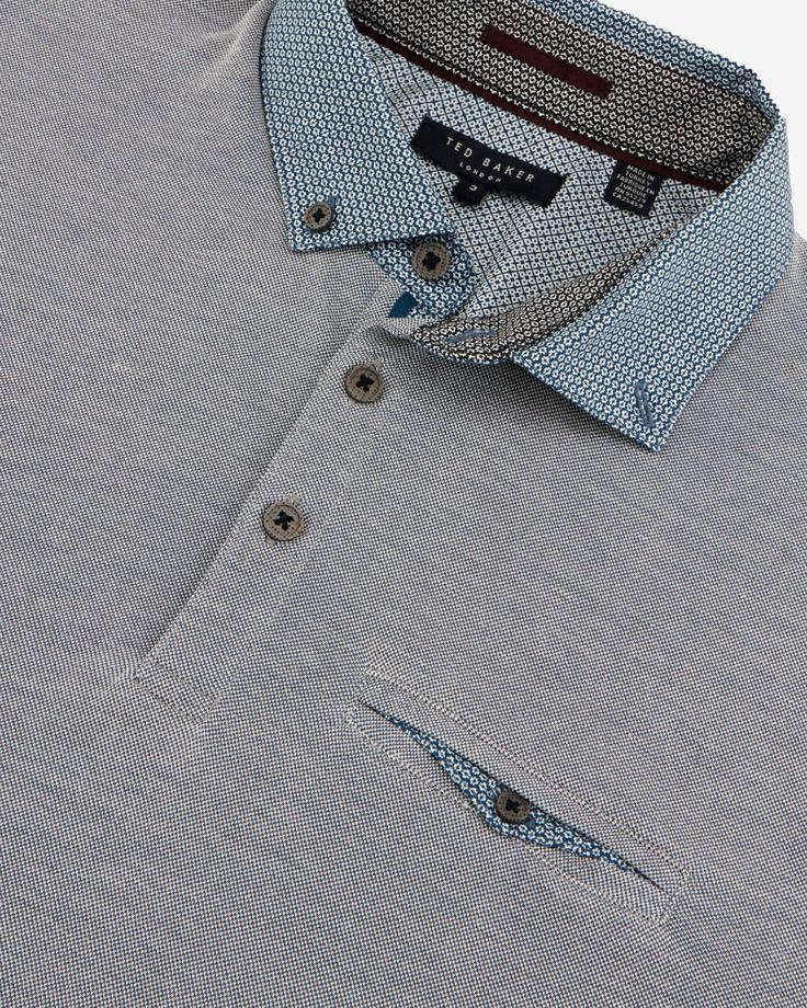 Woven collar polo shirt - Teal | Tops & T-shirts | Ted Baker ROW