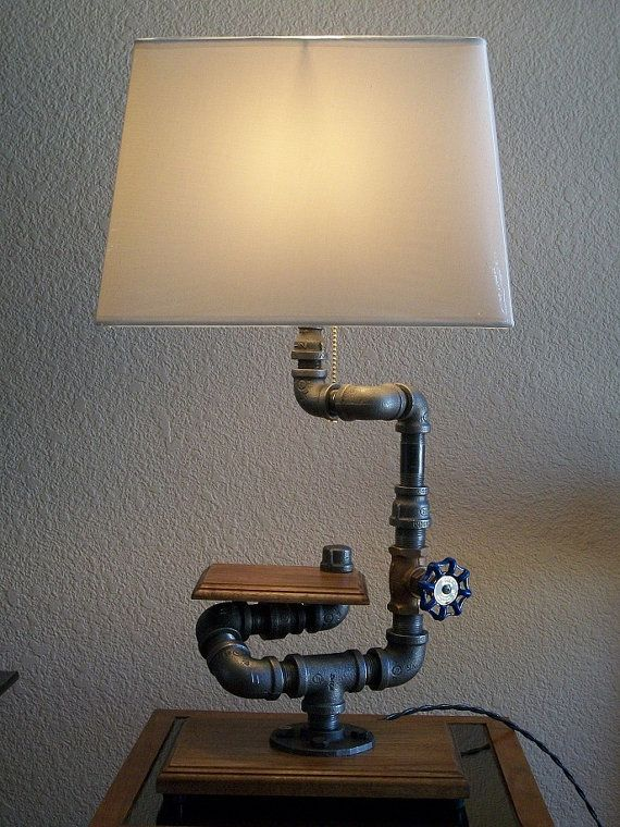 Industrial Black Pipe Hardwood Base with Display Shelf Desk Table Lamp with shade