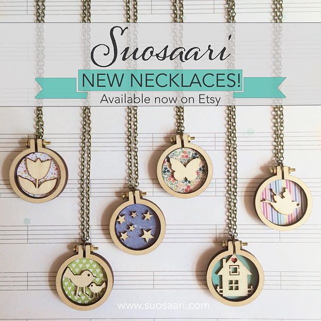 Here they are! These little mini hoop necklaces are available to order right now through my store. Go get 'em! Link in profile. Mini hoops by @dandelyne. Embroidery hoop art by Suosaari on Etsy.