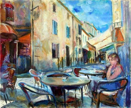 """Teresa Wallis-Joniak, """"W kawiarni"""", 2009, olej na płótnie, wymiary 66x76 cm, / obraz jest  reprodukowany w katalogu, """"Teresa Wallis-Joniak Malarstwo 2008-2012"""","""