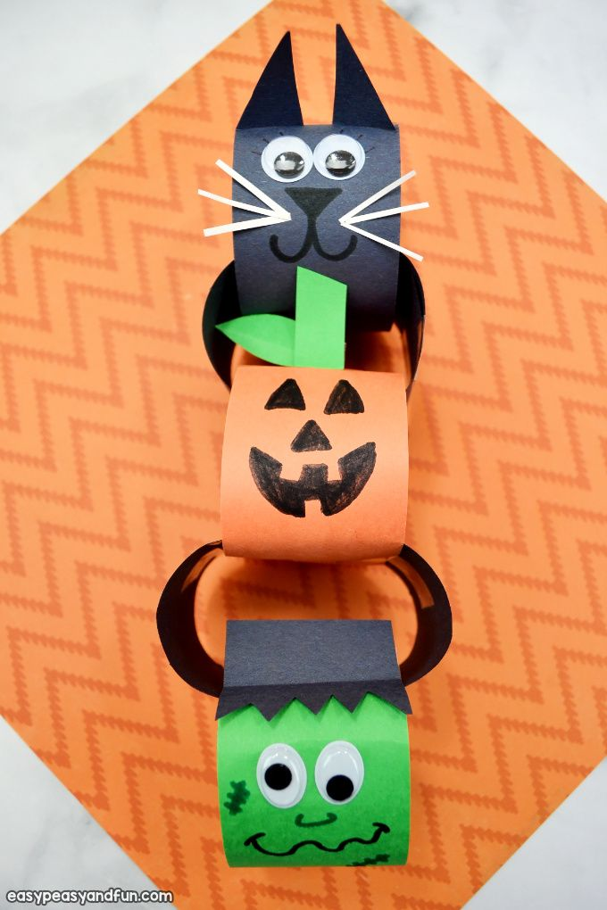 Halloween Paper Chains Halloween Arts And Crafts Halloween Bags