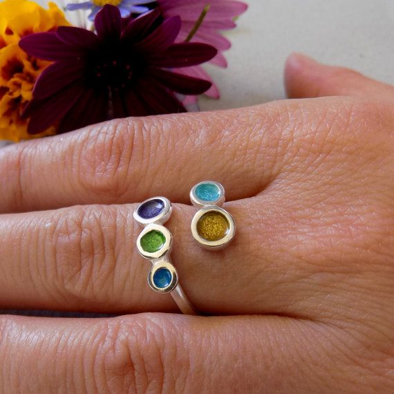 SILVER COLOR RING/Adjustable silver ring/Silver enamel ring/ joyful ring/ jewelry gift/summer ring/summer gift/ handmade silver ring.