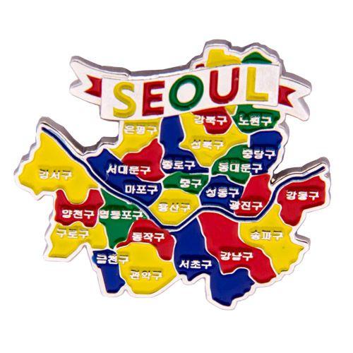 Metal Fridge Magnet: South Korea. Map of Seoul (Nickel Plating and Enamel)