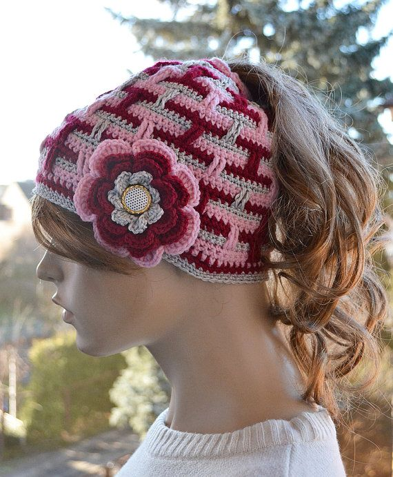 Messy Bun Hatcap Beanie Crocheted Ponytail Hole Hat by DosiakStyle
