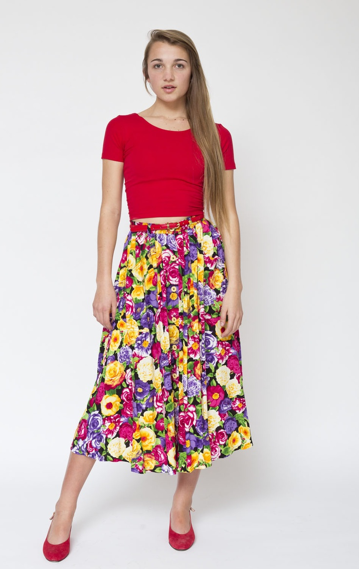 Rebecca wears the Rayon Button-Up Long Skirt by #AmericanApparel