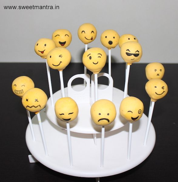 Smiley, Emoji faces theme homemade eggless Cake Pops for kids birthday party at Pune
