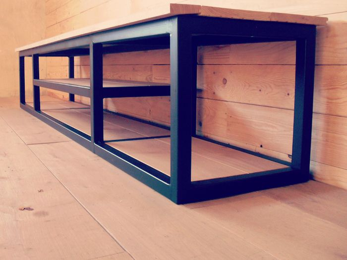 Custom steel and wood entertainment system -custom sizes available.