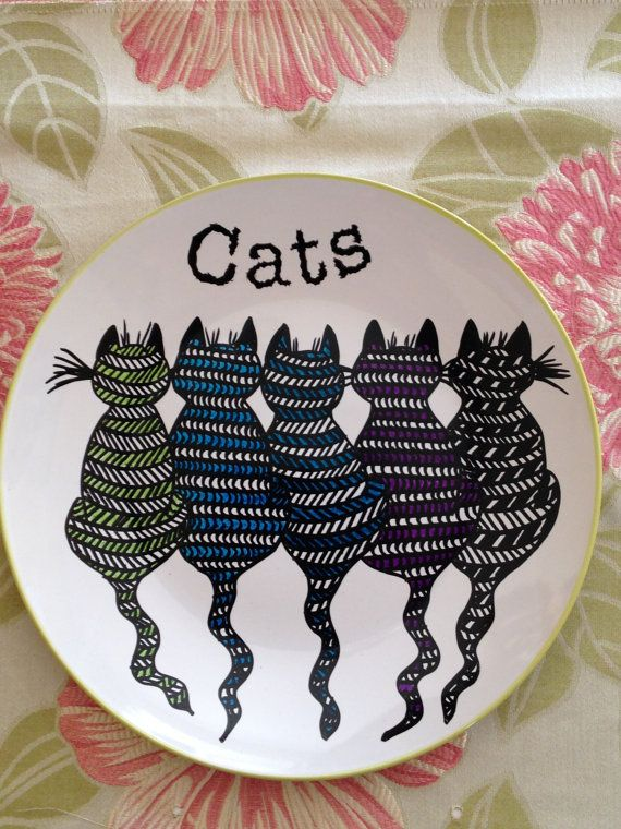 Hand painted plate  size 10 inches in diameter Cats by artdp