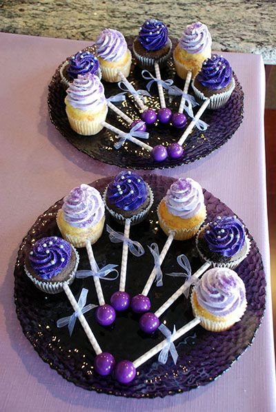 baby shower purple baby rattle cupcakes