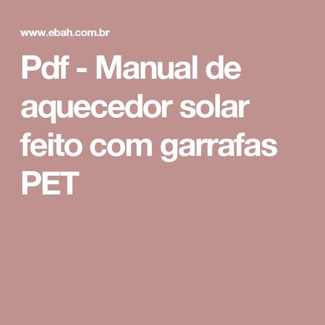 Pdf manual de aquecedor solar feito com garrafas pet for Manual de viveros forestales pdf