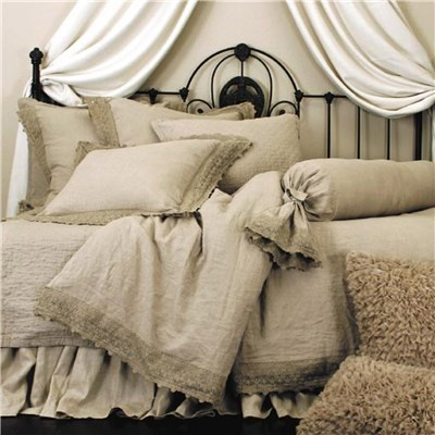 Lili Alessandra Theresa Linen & Lace Natural Bedding