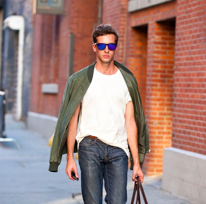 love the green suede bomber. sunglasses jeans denim fashion style men tumblr streetstyle weekend bag jacket coat.