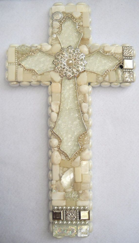 "Handmade White Wall Cross with sparkling glass centerpiece. Medium 16 1/2"" X 9 1/2"" X 2."" on Etsy"